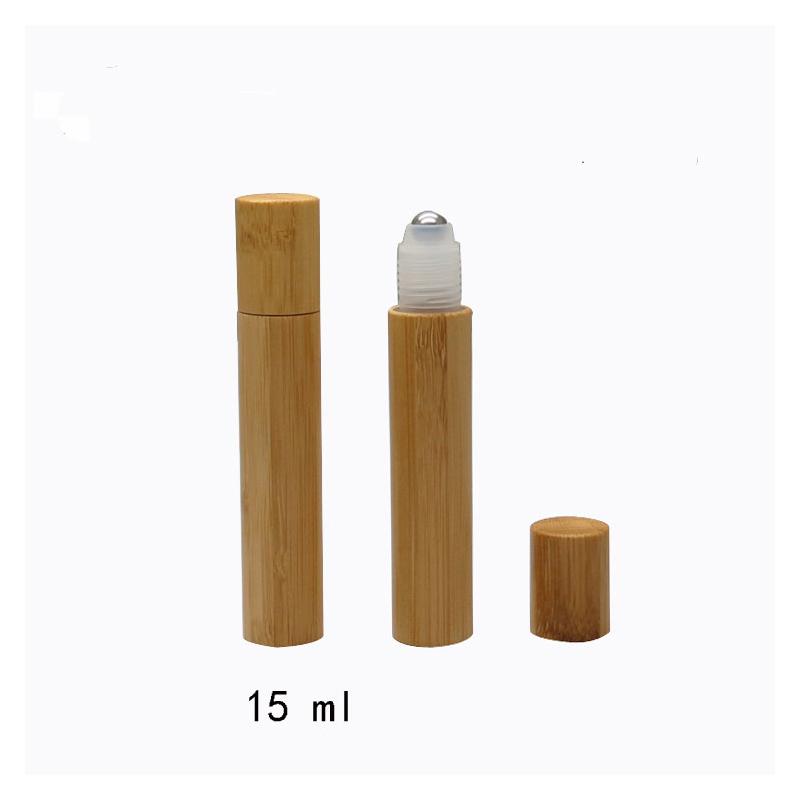 15 ml PET Vazia de Soro do frasco de Perfume de Viagem Portátil de armazenamento de bambu frasco de creme para o rosto de cosméticos jar embalagens de cosméticos de madeira