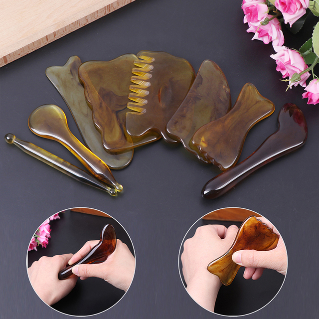 Natural Jade Guasha Scraping Massage Scraper  Gua Sha Board Resin Acupoint Face Eye Care SPA Massage Face Massager NEW 2