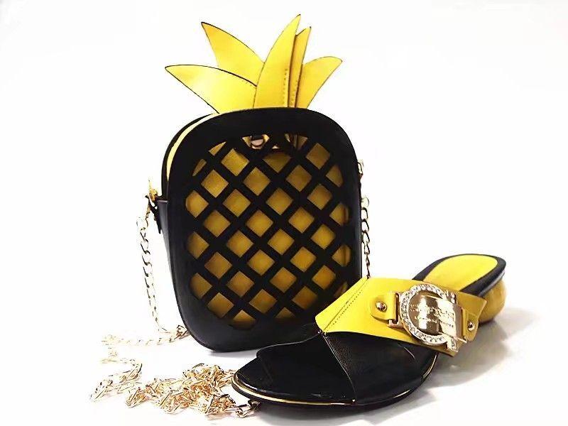 Wonderful yellow women Med heel shoes with basket bag set african shoes match handbag set for dress X24