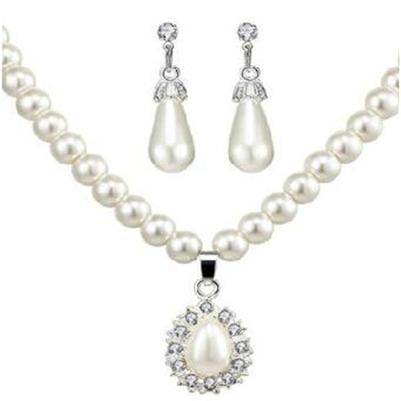 Lusion Luxury Simple Simulated Pearl Jewelry Set Choker Necklace With Stud Earring and Ring For Woman Wedding Bride Jewelry hOT