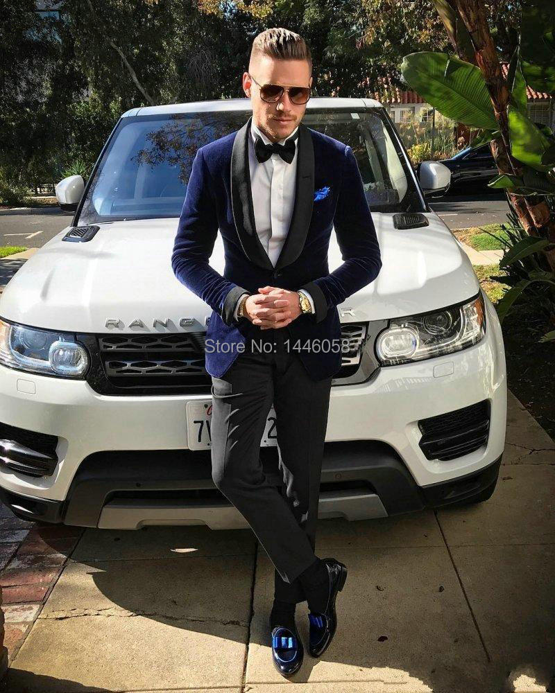 Navy Blue Velvet Suits Men Clothes 2018 Smoking Homme Slim Fit Groomsmen Prom Tuxedo Groom Men Suits With Pants For Wedding