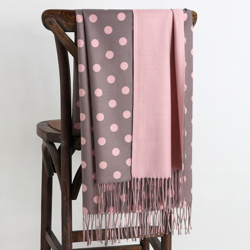 LARRIVED Luxury Brand 2019 New Winter Warm Cashmere Scarves Dot Pattern High Quality Long Tassels Women Thicken Wraps and Shawls
