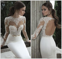 2014 Fall Winter Sexy Long Sleeves Mermaid Wedding Dresses Hign Neck With Sheer Lace Backless Satin