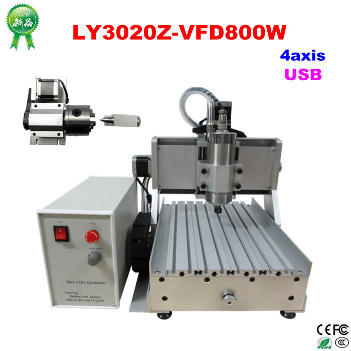 LY CNC 3020Z-VFD800W rotary axis USB CNC engraving machine CNC Router with water tank for woodworking jft 3d mini woodworking machine with usb 2 0 port 600w 3 axis cnc routers with water tank for drilling engraving 3040