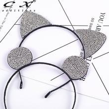 Girls Rhinestone Cat Ear Hairband Black Hair Band Mouse Headband Newborn Scarf Accessories For Bridal Tiara Halloween
