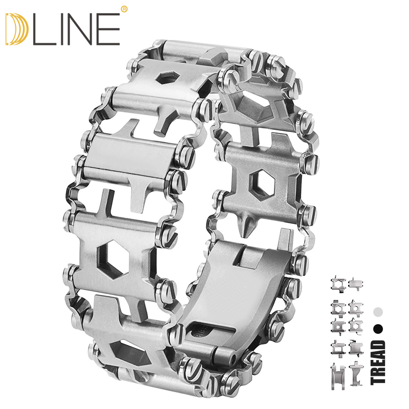 dline Wearable Tread 29 In 1 Multi-function Bracelet Strap Multi-function Screwdriver Outdoor Emergency Kit Multi Tool 29 in 1 multi functions tools bracelets for mens stainless steel wear tread bracelets wearable screwdriver infinity war bracelet