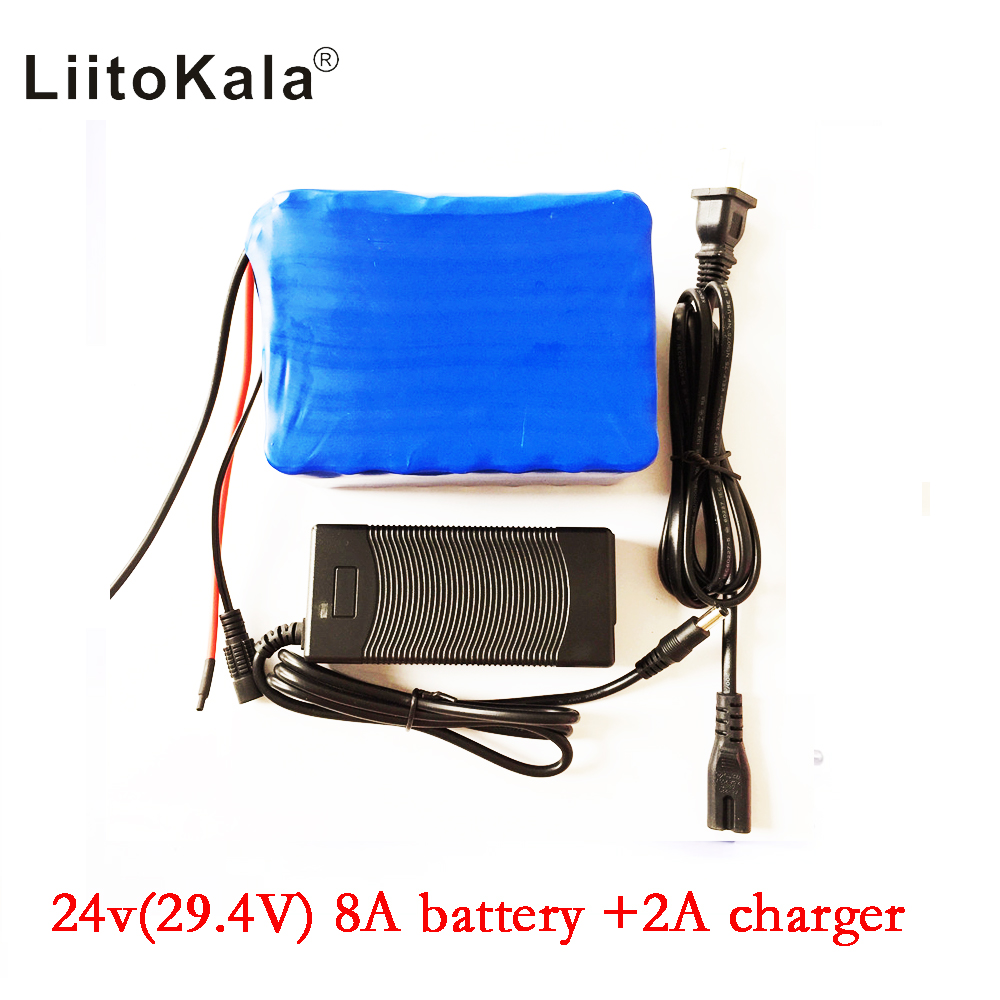 HK LiitoKala 24v 8ah 7S4P battery 15A BMS 250w 29.4V 8000mAh battery pack for wheelchair motor kit electric power+2A charger