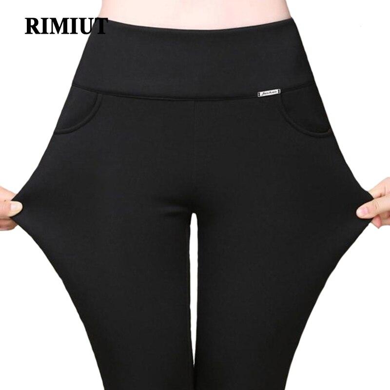 Rimiut S-6XL Plus Size Elastic Candy Colors Women Autumn Winter Leggings Pants Casual Long Ankle Length Warm Thick Pant