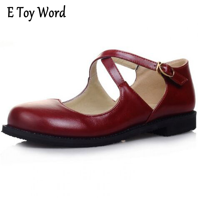 E TOY WORD Fashion New Sweet Womens Round Toe Casual Flats Buckle Cross Strap Mary Jane Girls Ballet Flats Shoes Plus Size 43 new 2017 spring summer women shoes pointed toe high quality brand fashion womens flats ladies plus size 41 sweet flock t179