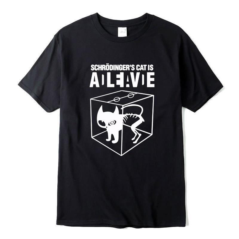 Top Quality Cotton Schrodinger's Cat Print Short Sleeve Men T Shirt Casual The Big Bang Theory Mens Tshirt 2018 T01