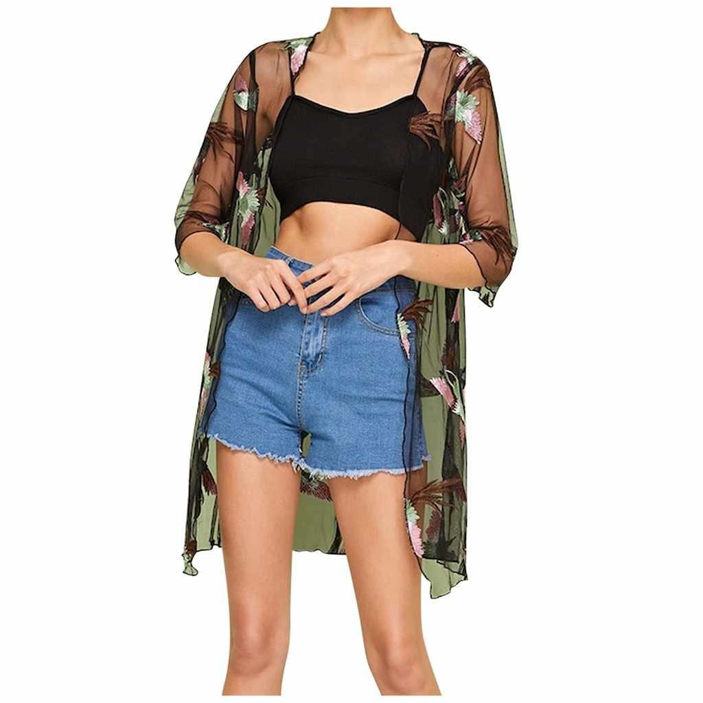 Thời trang Nữ Gạc Áo Cardigan Tay Lửng Thêu Giải Trí Mỏng Áo Khoác Áo Dệt Kim Dài Phối lưới Sexy