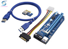 free ship ,bitcoin miner PCE164P-NO3 0.6M PCIe PCI-E 1X to 16X Riser Card Extender + 15Pin SATA to 4Pin IDE cable for mining
