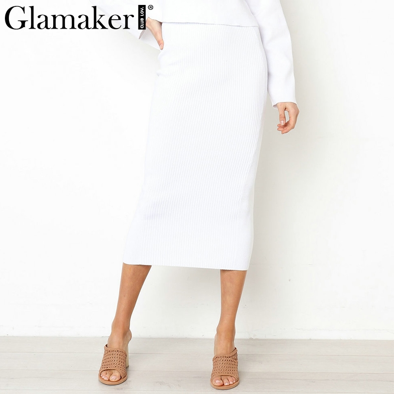 701c8703382 Glamaker белая вязаная женская длинная юбка-карандаш Осенняя черная  повседневная школьная юбка элегантная вечерние Вечеринка