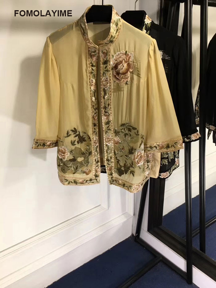 FOMOLAYIME Luxury Summer Tops Shirts 2018 Women High Quality Embroidery Blouses