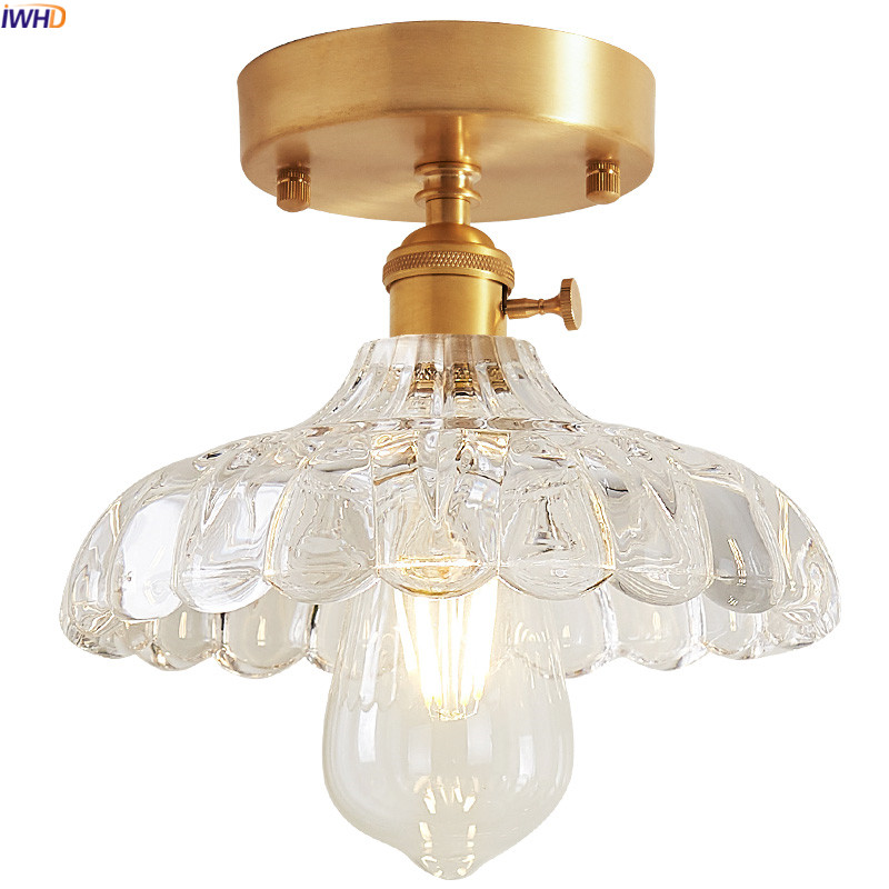 IWHD Nordic Glass Copper LED Ceiling Light Kitchen Hallway Balcony Edison Vintage Ceiling Lamp Plafondlamp Lamparas De Techo iwhd europe vintage glass led ceiling lights for kitchen hallway balcony copper ceiling lamp plafonnier led lamparas de techo