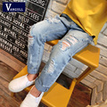 2016 new spring clothes on behalf of children BF big hole jeans trousers for children SKY blue