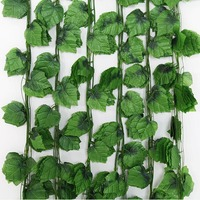 Decor Flowers Green Leaf Garland Vine Ivy Plastic Plant Leaves High Quality Party Halloween navidad