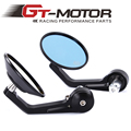 GT Motor - Round Motorcycle Bike Rearview Mirror Side Mirror With 7/8'' Hollow Handlebar CNC Aluminum