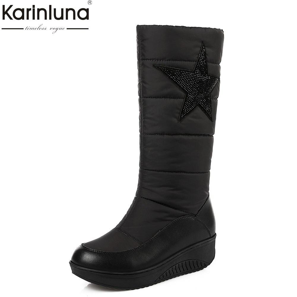 KarinLuna Large Sizes 35-44 Stars Hot Sale Elegant Shoes Woman Mid Calf Boots Winter snow Boots Warm Shoes Women waterproof все цены