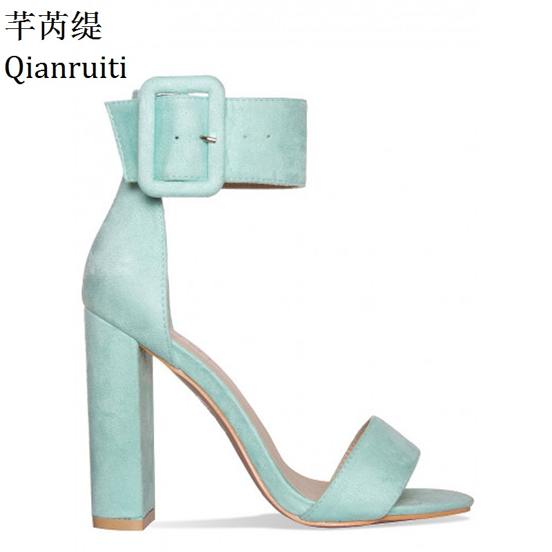 все цены на Qianruiti Pink Mint Green Faux Suede Women Pumps Peep Toe High Heels Women Sandals Ankle Buckle Strap Block Heels Women Shoes