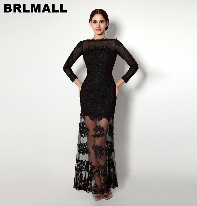BRLMALL High Quality Lace Appliques   Prom     Dress   With Long Sleeves 2017 Vintage Backless Mermaid Evening   Dresses   Party Gown
