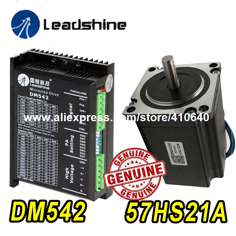 цена на GENUINE Leadshine Stepper Motor 57HS21A 8mm Shaft 5A 2.1 N.M AND Leadshine DSP Digital Stepper Drive DM542 Delivery TOGETHER
