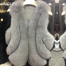 DUOUPA  Natural Real Fox Fur Vest is 50-65 cm Stylish Winter Short Thick Women Jacket Pockets Coats Slim