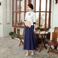 White Mandarin Collar Chinese Style Blouse High Quality Women S Shirt Vintage Handmade Button Flower Tops