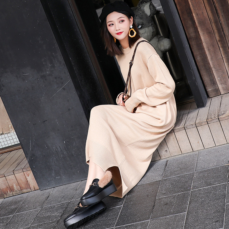e8b101bf2be Long Sleeve Maxi Dress Women Autumn Winter Lazy Wind Casual Loose Sweater  Dress O Neck Bottom Slit Long Knitted Dress robe pull-in Dresses from  Women s ...