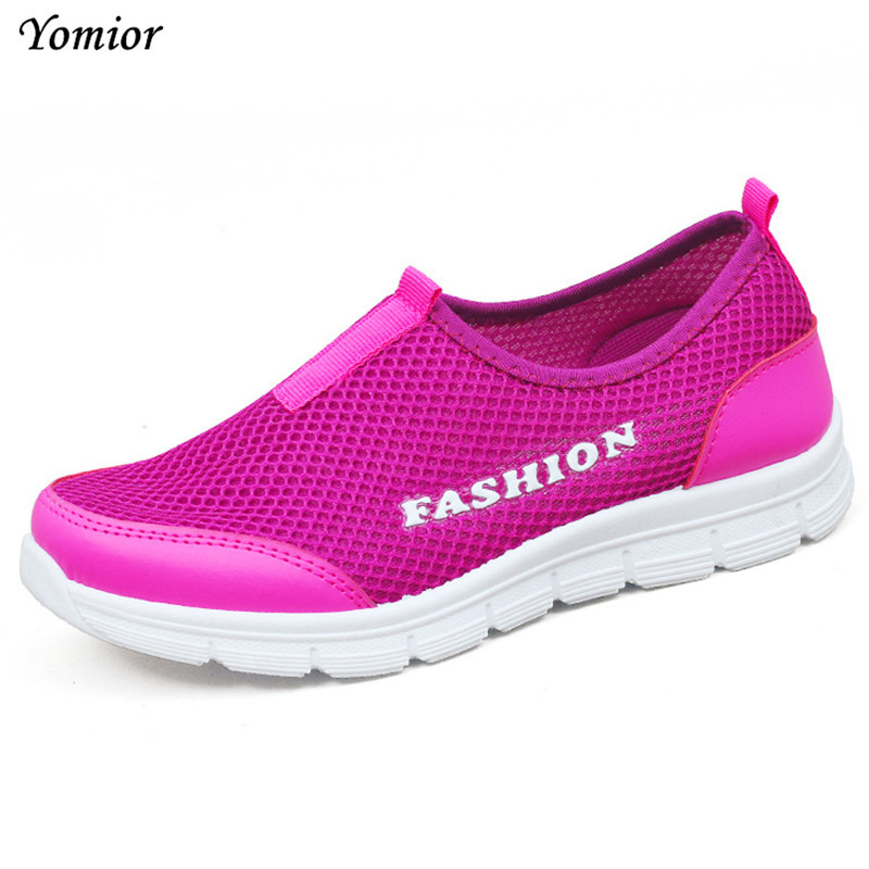 Yomior Fashion Women Flats Spring Summer Shoes Woman Mesh Casual Shoes Super Breathable Lady Shoes Mother Loafers Sneakers
