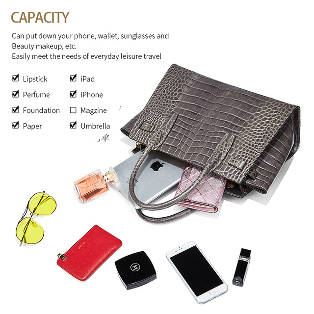 Qiwang Gray Brand Luxury Elegant Top Handle Bags Trapeze Women  Tote Handbags 100% Genuine Leather Bag with Belt