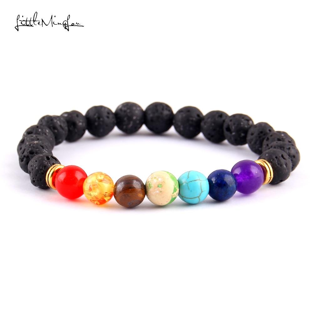 Little MingLou 7 Chakra Bracelet Men Black Lava Healing Balance Beads - Bisutería