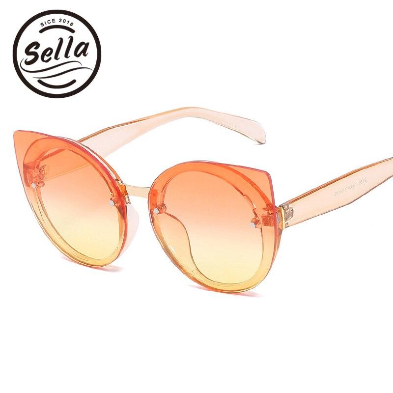 Sella New Fashion Candy Color Oversized Cateye Sunglasses Brand Designer Trending Women Gradient Lens Sun Glasses UV400