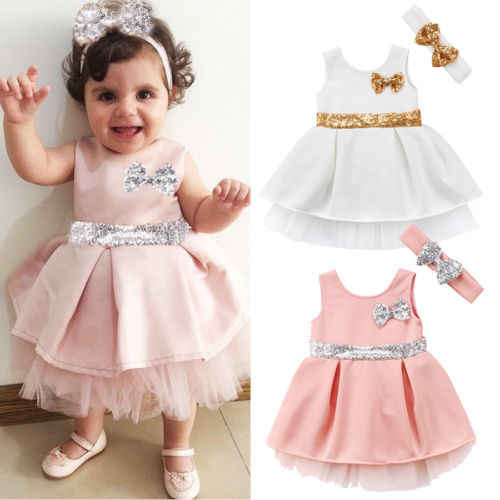 2018 Super Cute Babies Sequins Tulle Layered Dress  Toddler Baby Girls Princess Bowknot Tulle Pageant Party Dresses Sundress