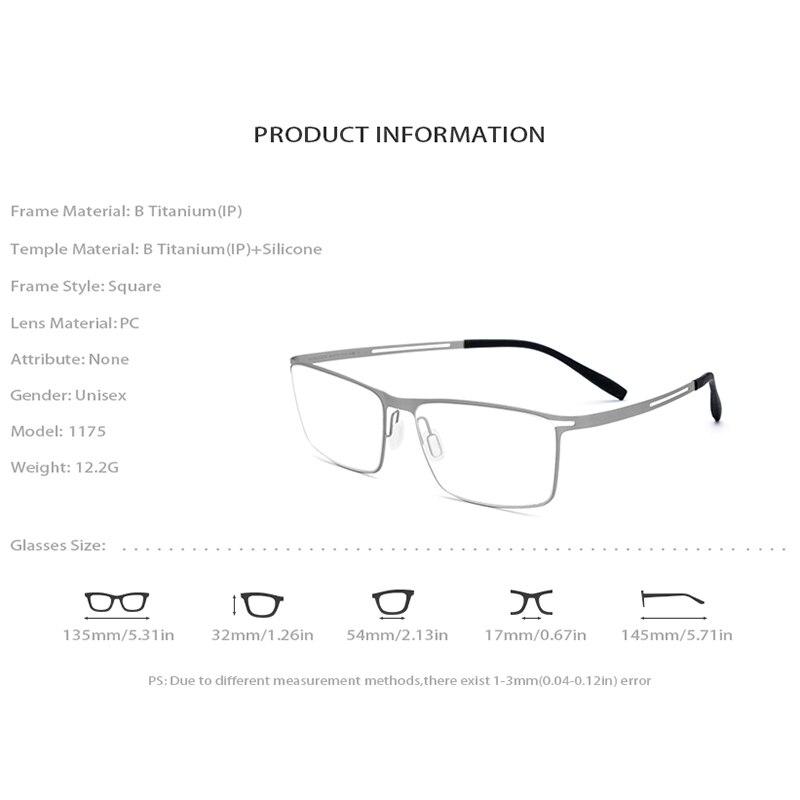 B titane lunettes cadre hommes 2019 carré myopie optique cadres lunettes pour hommes mémoire lumière coréen sans vis lunettes 1175 - 4