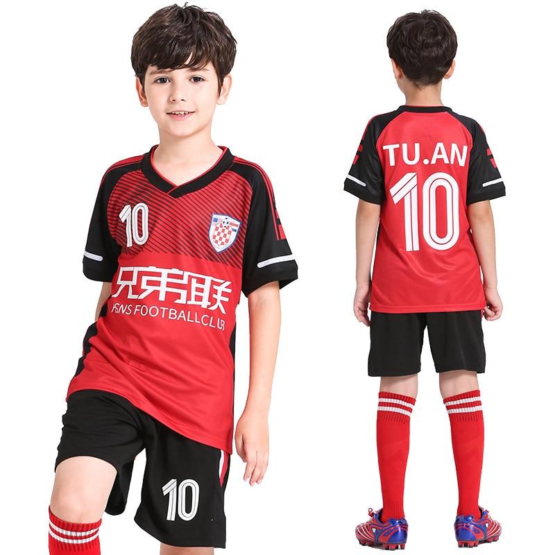 sale retailer e1327 2c034 US $13.59 53% OFF|Football Jersey Kids Personalized Soccer Jerseys Set  Custom Soccer Uniform Survetement Football Uniform Breathable Sport  Clothes-in ...