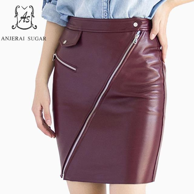 64acd19a7be Genuine leather skirts women sexy Diagonal zipper slim Package hip OL  office sheepskin real leather female short pencil skirt