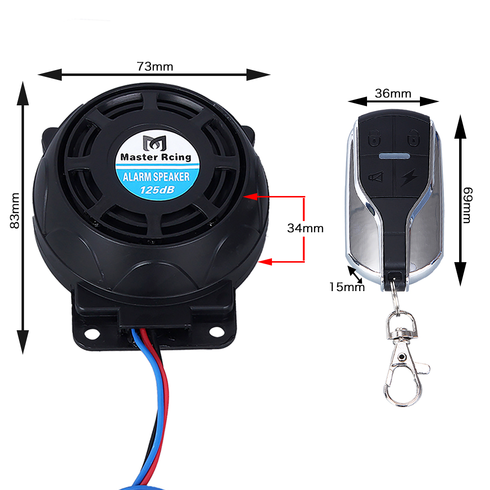 Motorbike Remote Start Flameout Type System + 125dB Motorcycle Alarm Speaker + Anti-theft Security System All In One