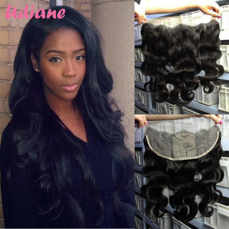 Virgin Indian Ear To Ear Silk Base Full Frontal Lace Closure 13x4 Indian Body Wave Human Hair Lace Frontal Closure 8BA41F