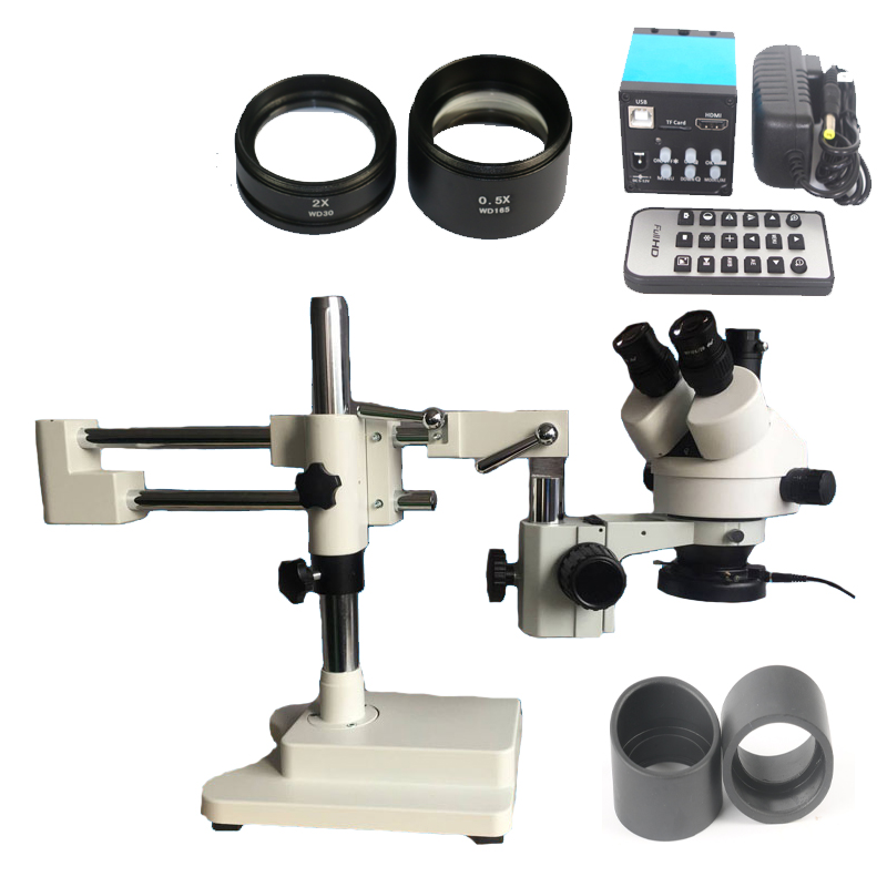 3.5X-90X Double Boon Stand Stereo Zoom trinocular Microscope+16MP HDMI USB camera+144 Led ring lights for phone PCB repair lucky zoom brand 3 5x 90x stereo trinocular microscope large stand microscope for soldering pcb inspection mobile phone repair