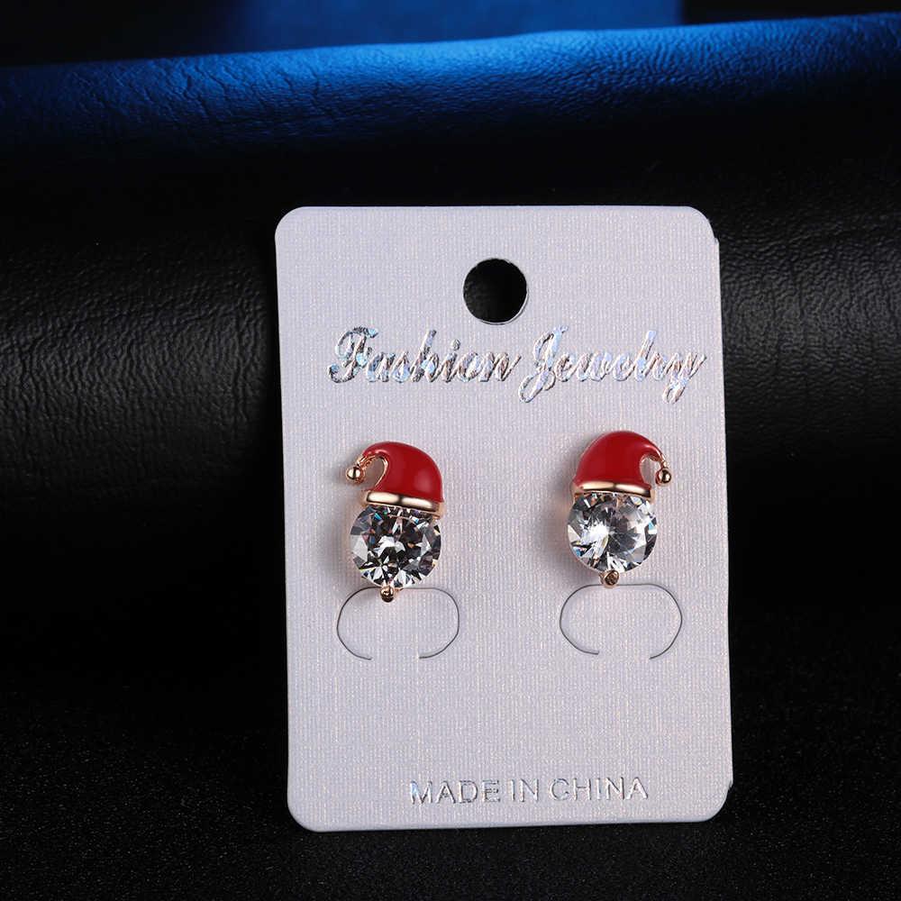 1 paire romantique rouge cristal noël Santa chapeau goujons boucles d'oreilles pour les femmes strass zircone de noël oreille goujons bijoux Festival cadeau