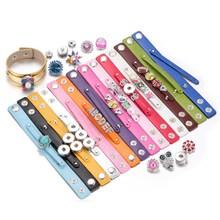 Hot Sale 1pcs lot PU Leather bracelet Bangle Jewelry 18mm snap button Bracelet For 18mm DIY