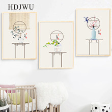 New Chinese Classical Folk Fower Bird Decoration Painting Posters for Living Room Decor AJ00189