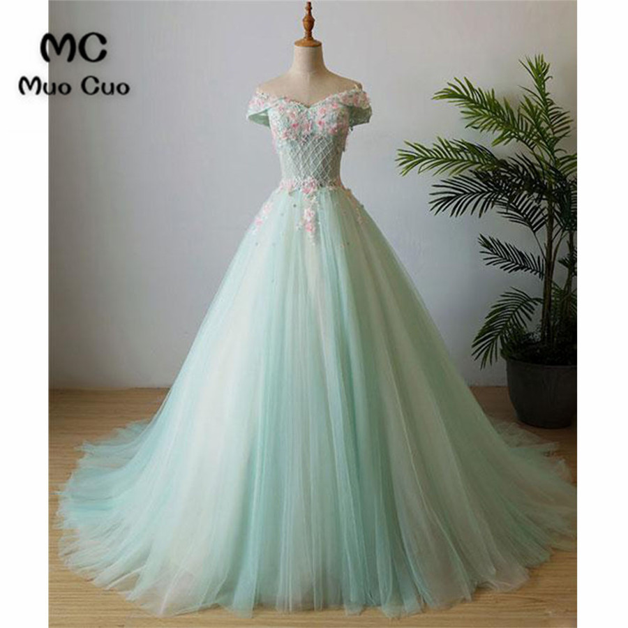 2018 Elegant Evening Dress Ball Gown Off Shoulder Prom Dresses Long ...