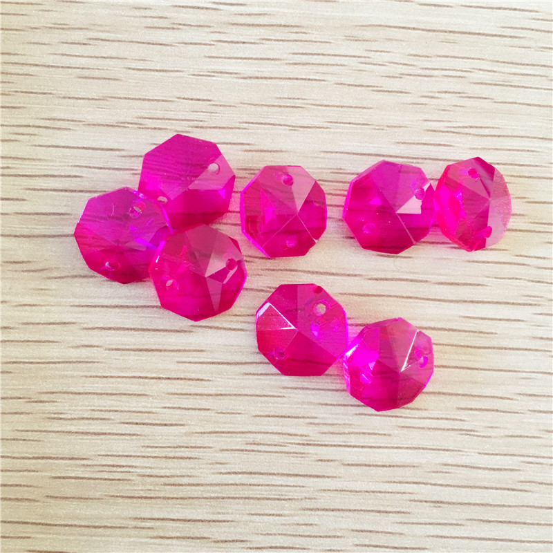 1000pcs 14mm Chandelier Octagonal Bead in Two Holes Crystal Lamp Pendants Decoration Parts DIY Fuchsia