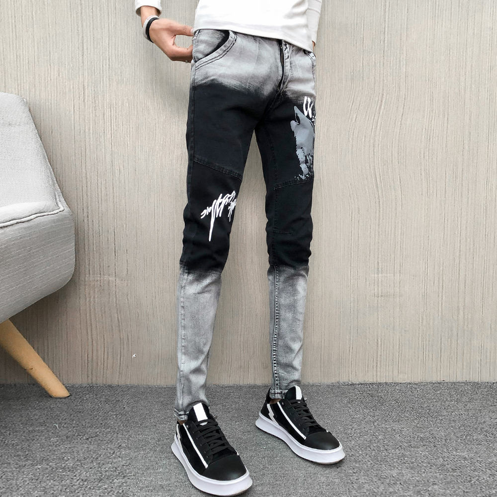 Spring Jeans Men Brand New All Match Denim Pants Men Hip Hop Patchwork Color Print Streetwear Slim Fit Men Jeans Trousers