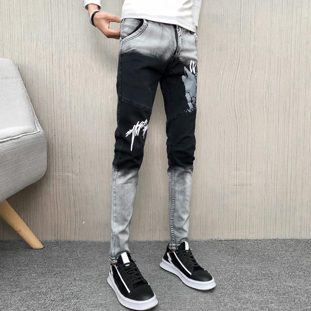 Spring Jeans Men Brand New All Match Denim Pants Men Hip Hop Patchwork Color Print Streetwear Slim Fit Men Jeans Trousers