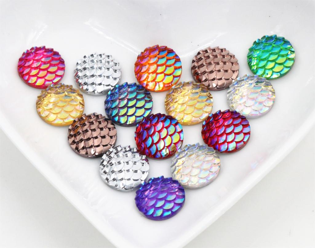 New Fashion 40pcs 12mm Mix Colors Mermaid Fish Scale Flat back Rhinestone Round Cabochon Embellishment Scrapbooking DIY Crafts image