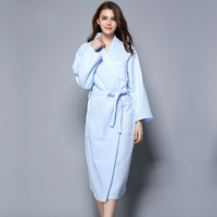 Plus Size Simple Waffle 100 Cotton Robes For Women Long Sleeved Casual Couples Bathrobes Quality Sauna