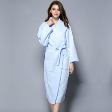 cbf99d241e Plus size Simple waffle 100% cotton robes women long-sleeved casual Couples  bathrobes quality SPA robes kaftans for women
